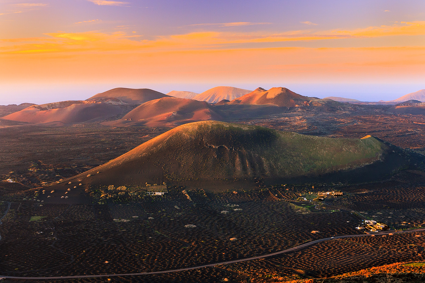 Sunset view over La Geria in Lanzarote - Canary Islands